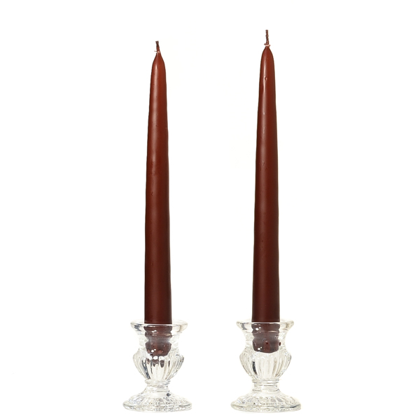 1 Pair Taper Candles Unscented 12 Inch Brown Tapers .88 in. diameter x 12 in. tall