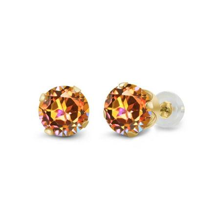 1.90 Ct Round Ecstasy Mystic Topaz 14K Yellow Gold 4-prong Stud Earrings - 14k Mystic Topaz Earrings