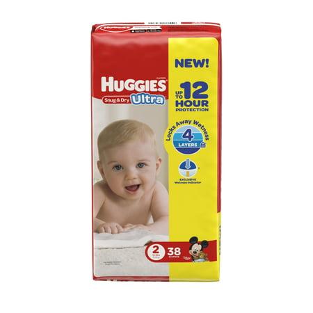 HUGGIES Snug & Dry Ultra Diapers, Size 2, 38 Diapers
