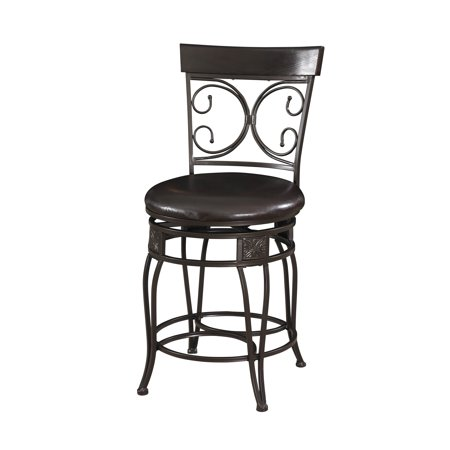 - Powell Big & Tall Back to Back Scroll Counter Stool, Black