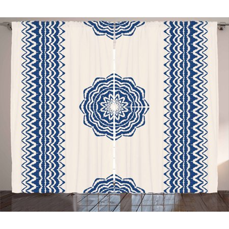 Oriental Curtain - Mandala Curtains 2 Panels Set, Oriental Symbol with Geometric Zigzag Border Ornaments Ethnic Art Motif, Window Drapes for Living Room Bedroom, 108W X 63L Inches, Dark Blue and Cream, by Ambesonne