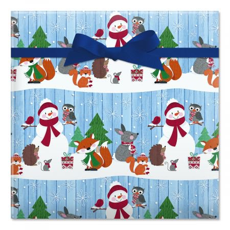 Forest Critters Jumbo Rolled Christmas Gift Wrap- 1 Giant Roll, 23 Inches Wide by 35 feet Long, Heavyweight, Tear-Resistant, Holiday Wrapping Paper