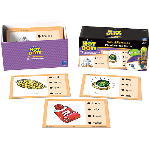 Hot Dots Phonics Flash Cards, Word Families