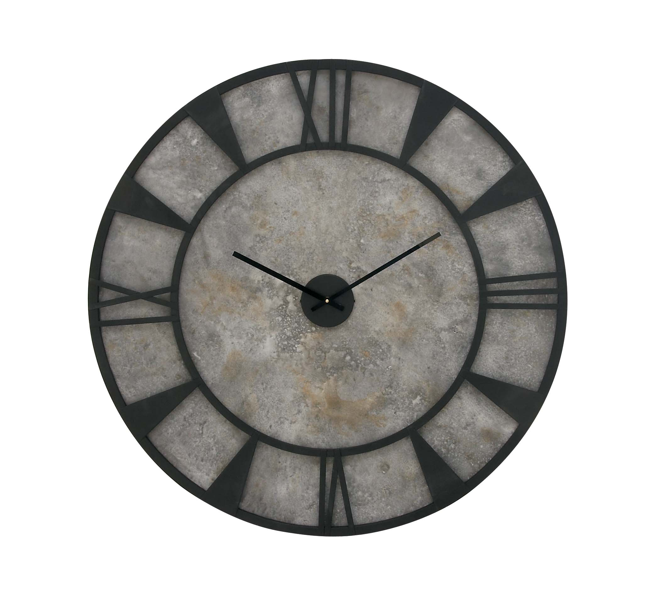 Decmode Farmhouse 35 Inch Distressed Gray And Black Metal And Wood Round Wall Clock