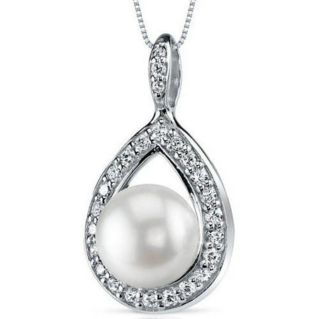 Oravo 10.0mm Teardrop Freshwater Cultured White Pearl Rhodium over Sterling Silver Pendant, (Pearl June Birthstone Pendant)