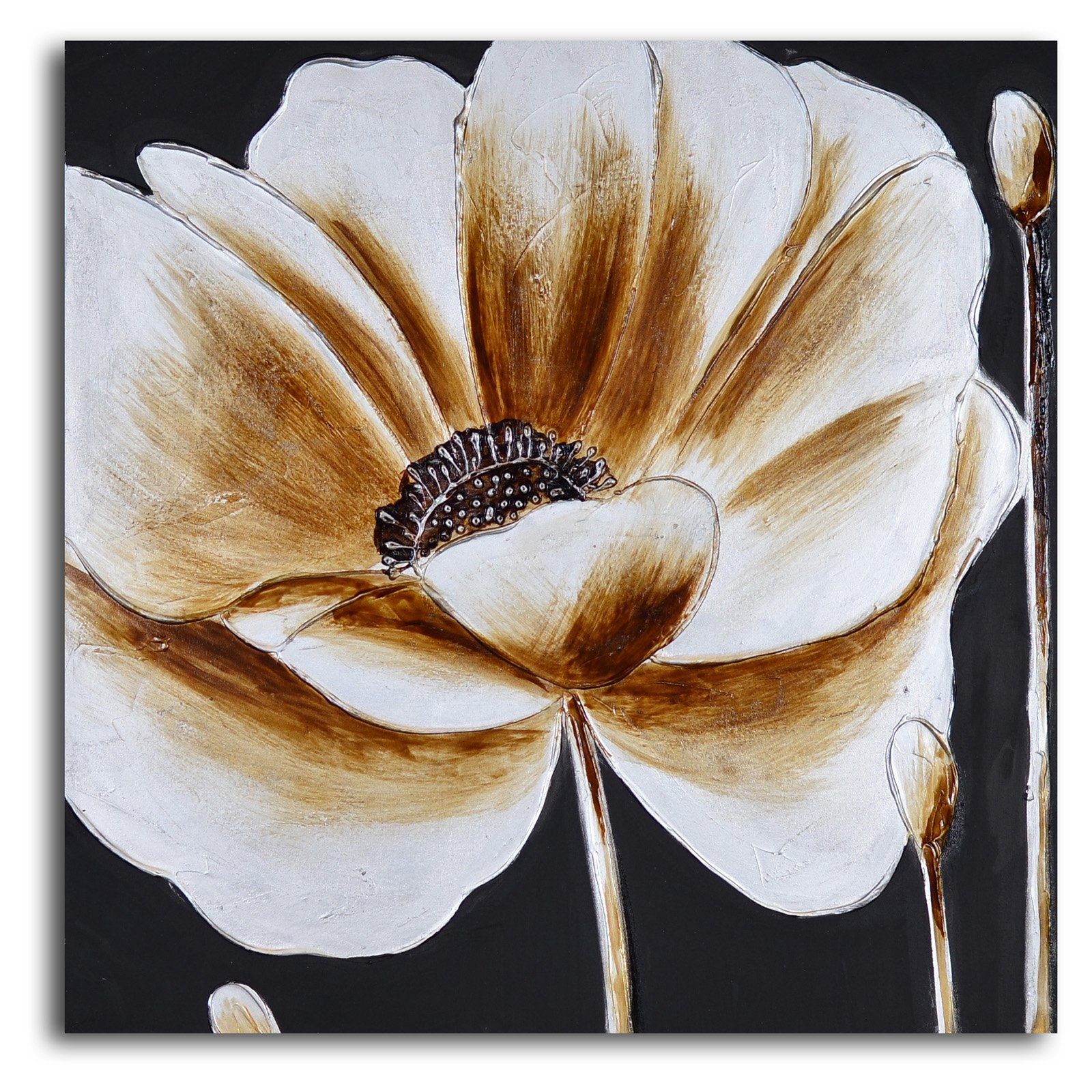 Coffee and White Poppy Canvas Wall Art