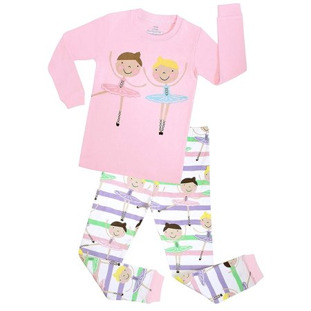 Elowel Girls Ballerina 2 Piece Kids Pajamas Set 2 -