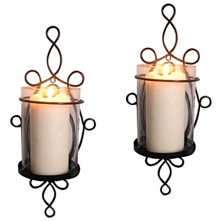 - Raphael Rozen Modern Glass Sconce Set: 2 Piece Wall Mounted Decorative Candle Holder Set: Clear Glass Holders