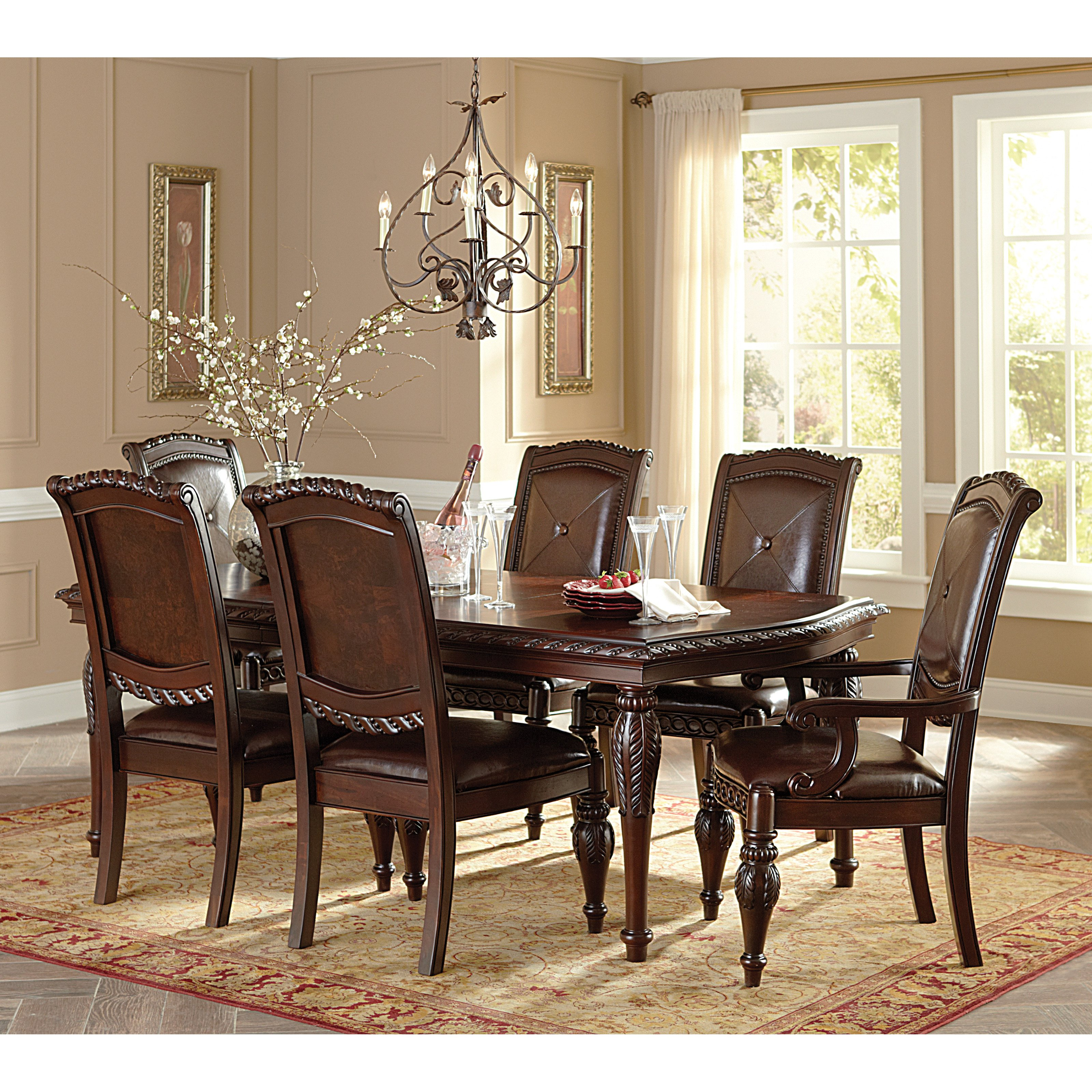 Steve Silver Antoinette 7 Piece Dining Table Set   Cherry   Walmart.com