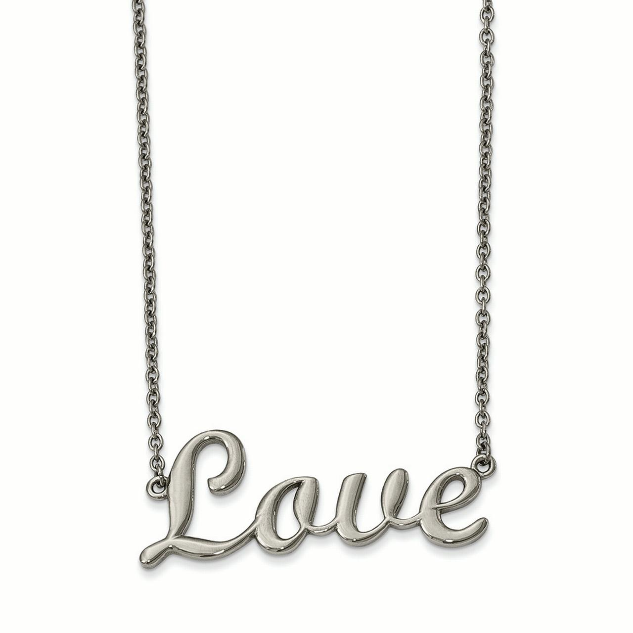 Lex & Lu Chisel Stainless Steel Polished Love Necklace 16""