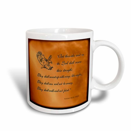 3dRose Isaiah 40 31 Bible verse with eagle engraved into a copper background , Ceramic Mug, 15-ounce