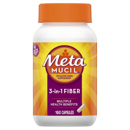 Metamucil Fiber, 3-in-1 Psyllium Capsule Fiber Supplement, 160 ct