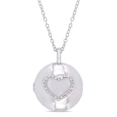 Diamond-Accent Sterling Silver Heart Locket Pendant