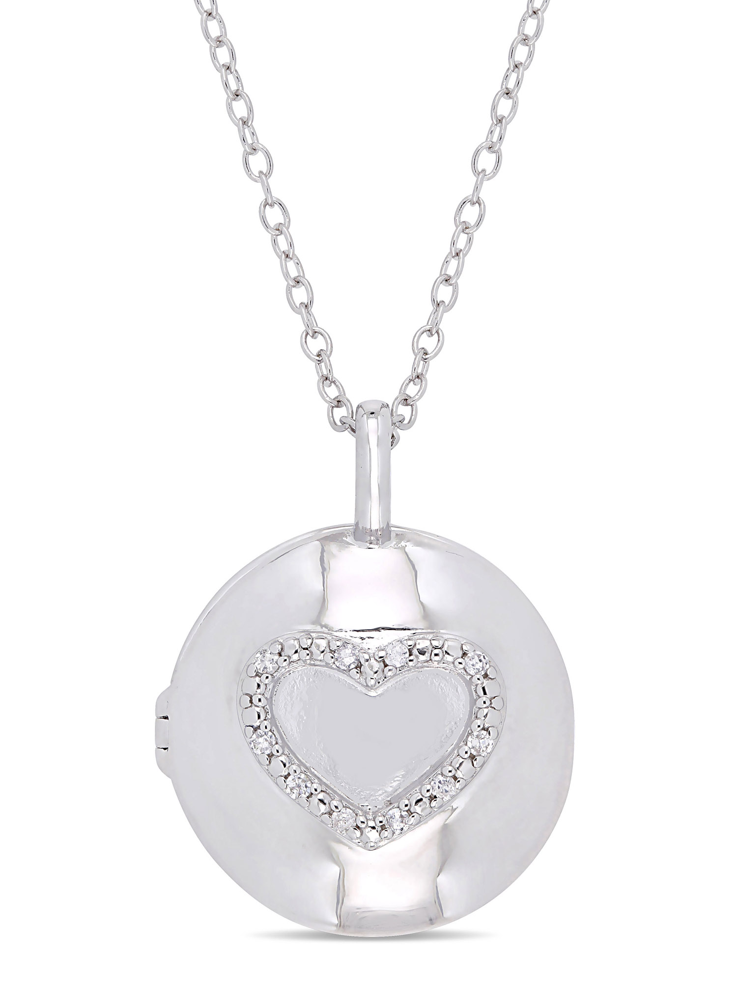 Miabella Diamond-Accent Sterling Silver Heart Locket Pendant