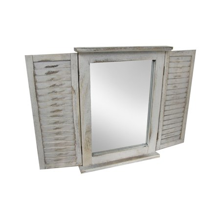 Distressed Finish White Wooden Shutter Wall Mirror ()