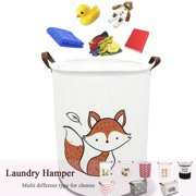 """Folding Laundry Basket, 19.7""""Canvas Fabric Collapsible Laundry Hamper for Storage Bin Toy Bins Gift Baskets Bedroom Clothes Room Organization and Storage Children Nursery Hamper(Round Fox)"""