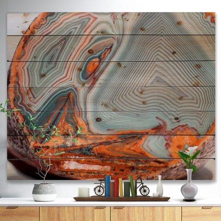 Grey Agate - DESIGN ART Designart 'Beautiful Lake Superior Agate' Abstract Print on Natural Pine Wood - Grey