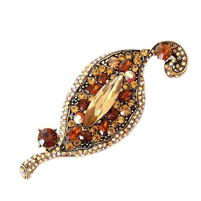 Eshopo 0800000000556 Topaz Mixed Glass Crystal Geometric Design Gold Pin by Eshopo