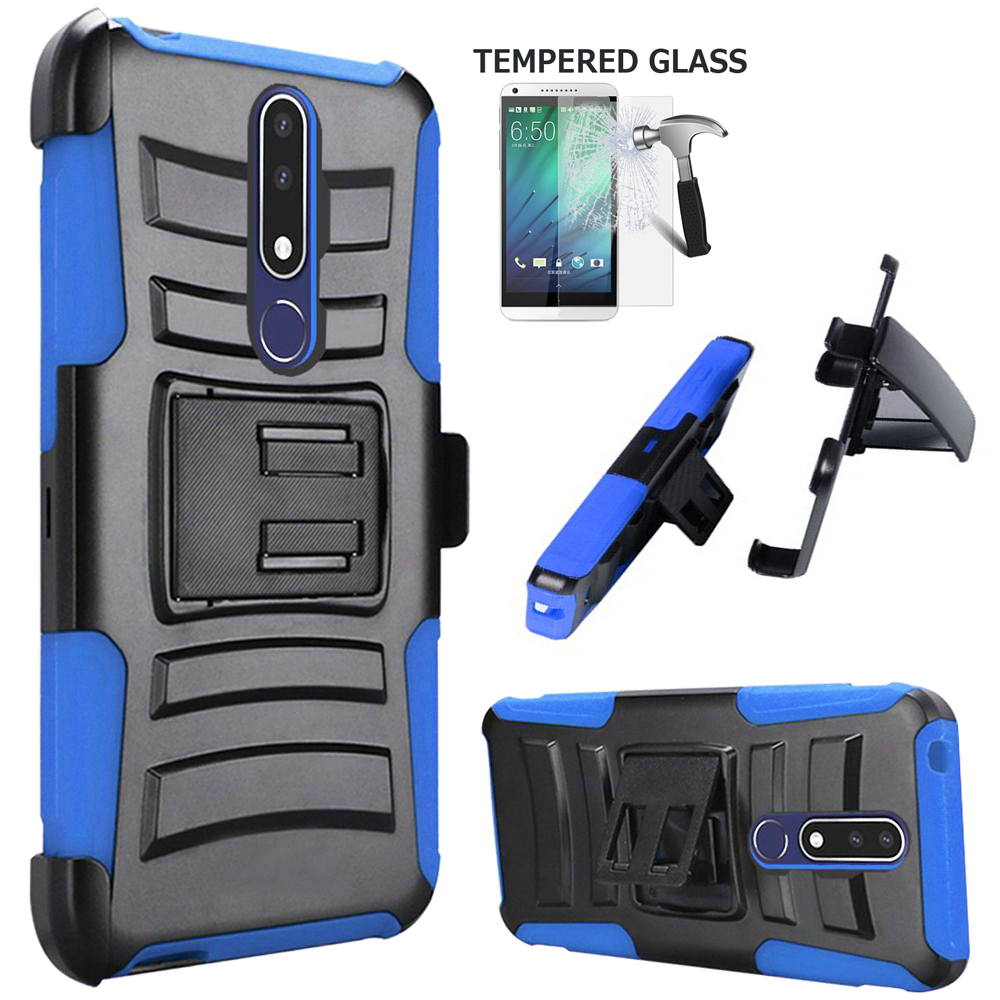 "Phone Case for Nokia 3.1 Plus (6"") / Cricket 3.1-Plus Case + Screen Protector Shock absorbing Holster Belt Clip with Rugged Cover (Holster Blue Edge Case + Tempered  Glass)"