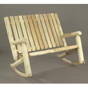 """46"""" Natural Cedar Log Style Outdoor Wooden Double High Back Rocking Chair"""