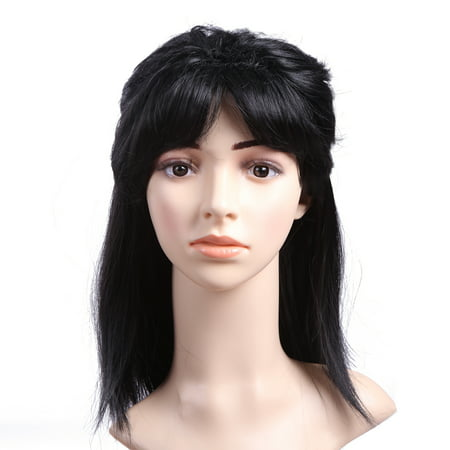 80s Male Hair (HDE Men's Black Mullet Wig Adult 80s Hockey Hair Halloween)