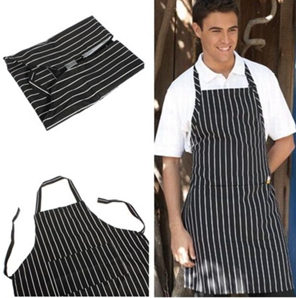 Black Adult Kitchen Restaurant Bar Chef Cook Waiter Polyester Stripe Bib Apron SPECIAL TODAY !