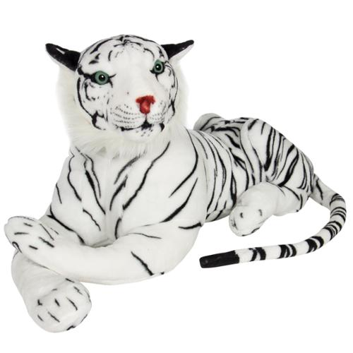 Large White Tiger Plush Animal Realistic Big Cat Bengal Soft Stuffed Toy Pillow