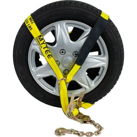 Auto Hauler Car Flatbed Tie Down  Kit Lasso Wheel Ratchet Tie Down Straps w/ Chain Car Hauler Accessories
