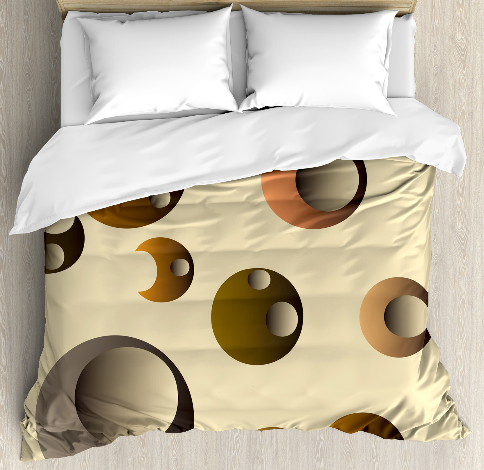 Retro King Size Duvet Cover Set, Funky Bubbles in Round D...