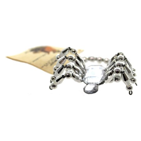 (Halloween SPIDER BRACELET SILVER Plastic Beads And Wire Jewelry Bethany Lowe Designs LO9413 SILVER)