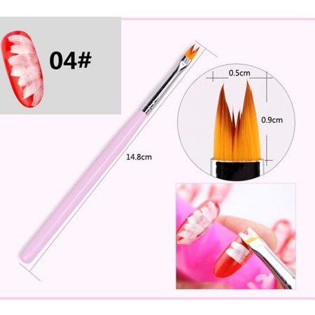 8Pcs/Set Flower Gradient Wood Painting Brush Drawing UV Gel Nail Art Pen Tools - image 3 of 11
