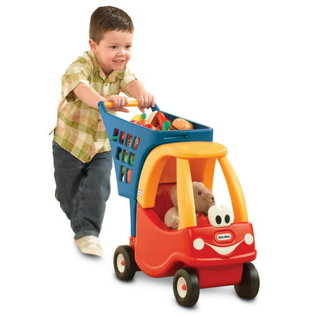 Little Tikes Cozy Coupe Kids Pretend Play Fun Grocery Store Shopping Cart, Red If grocery shopping is your kiddo's favorite kind of shopping, this Little Tikes Princess Cozy Coupe Kids Grocery Shopping Cart is a must in their play room. Styled after the classic Cozy Coupe, this grocery shopping cart offers plenty of space for all the amazing and delicious goodies at the supermarket. It's also big enough to hold your little one's favorite doll to go on the shopping trip. This shopping cart is ideal for 18 months and up and encourages imaginative play, physical play, and makes for an afternoon of fun. The grocery store is calling and your nugget must go with this .