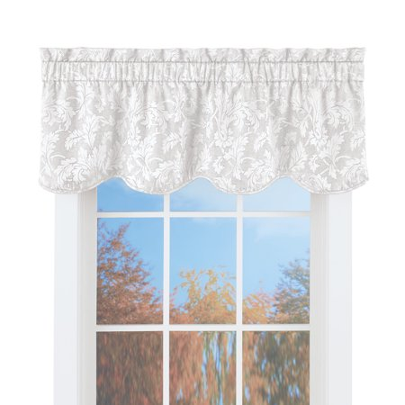 Floral Window Valance Curtain with Leaf Silhouette Design, Tone on Tone Coloring, Rod Pocket, White