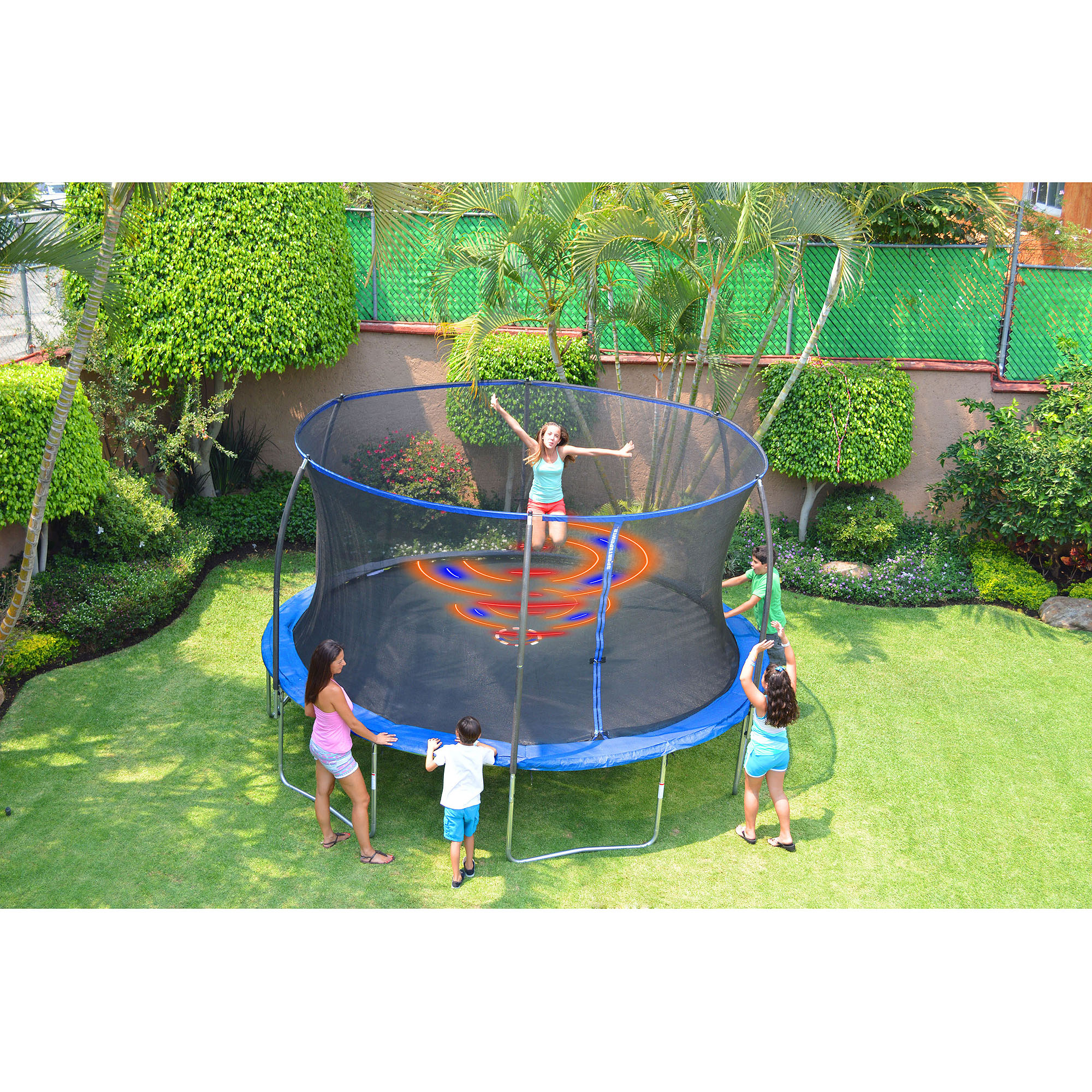 bouncepro 14 u0027 trampoline with spinner flash light zone blue box