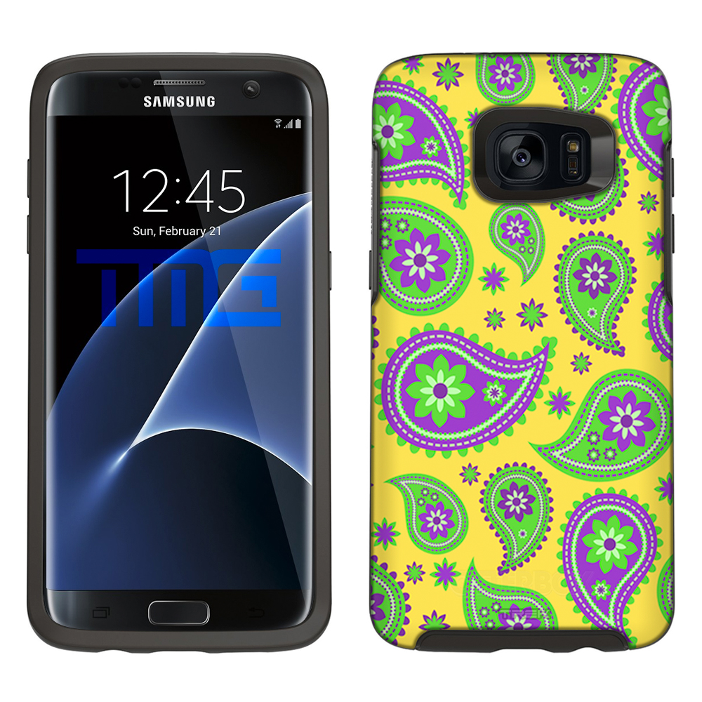 SKIN DECAL FOR Otterbox Symmetry Samsung Galaxy S7 Edge Case - Paisley Green Purple on Yellow DECAL, NOT A CASE