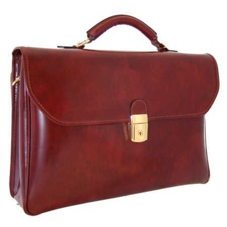 Pratesi Italian Cow Leather Extended Compartment Briefcase for Mens