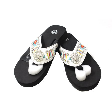 7007a29505223 Isabella - Isabella Western Women Rhinestone Concho Bling Thin Sole Flip  Flops White Strap Slippers Sandals - Walmart.com