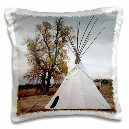 Prairie Pillow (3dRose USA, Nebraska, Stuhr Museum of the Prairie Pioneer, teepee., Pillow Case, 16 by 16-inch )