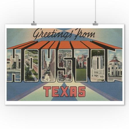 Greetings from Houston, Texas (9x12 Art Print, Wall Decor Travel (Children's Boutiques Houston)