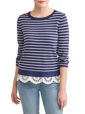 5d9a947cd0d Product Image Women s Striped Lace Trim Sweater