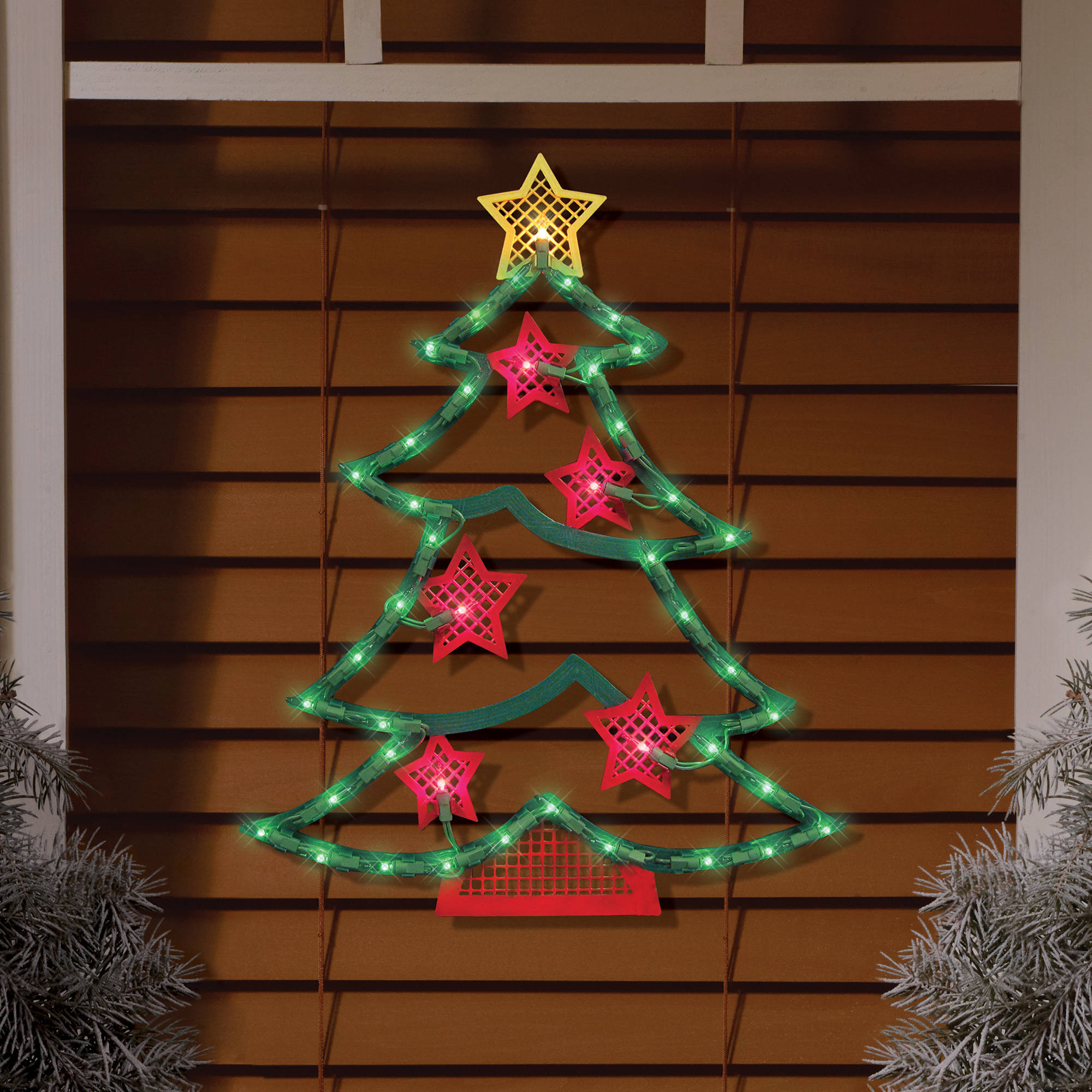 lighted tree window decoration walmartcom - Led Christmas Window Decorations