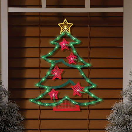 Details About Lighted Tree Window Decor Christmas Outdoor Hang Holiday Party Santa Green Led