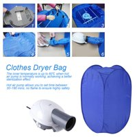 Yosoo Mini Dryer,Portable Clothes Dryer,Blue Mini Folding Ventless Electric Air Clothes Dryer Bag Folding Fast Drying Machine with Heater 110V US Plug