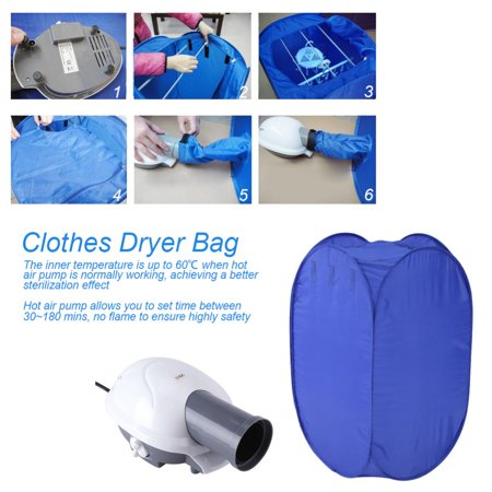 Yosoo Mini Dryer,Portable Clothes Dryer,Blue Mini Folding Ventless Electric Air Clothes Dryer Bag Folding Fast Drying Machine with Heater 110V US Plug (Portable Dryer Ventless)