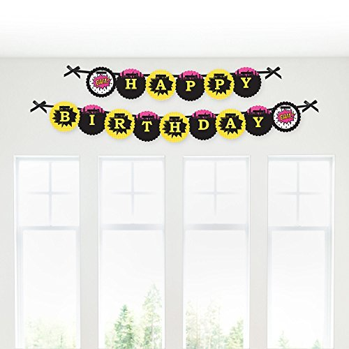 BAM! Girl Superhero - Birthday Party Garland Banner