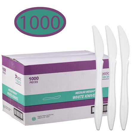 Disposable Plastic Cutlery in Bulk, Medium Weight & White Knives (Case of 1000)