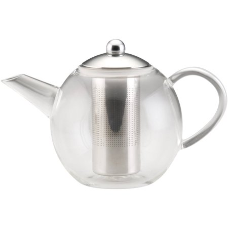 BonJour Tea Handblown Borosilicate Insulated Glass Teapot, Stainless Steel Infuser, 23.7-Ounce