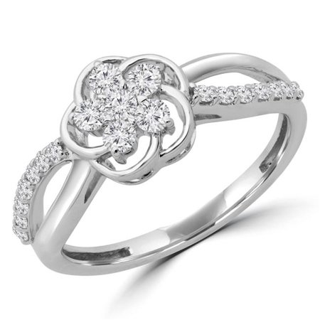 Majesty Diamonds MDR190090-5.75 0.37 CTW Round Diamond Floral Motif Promise Infinity Cluster Engagement Ring in 14K White Gold - Size 5.75 - image 1 de 1