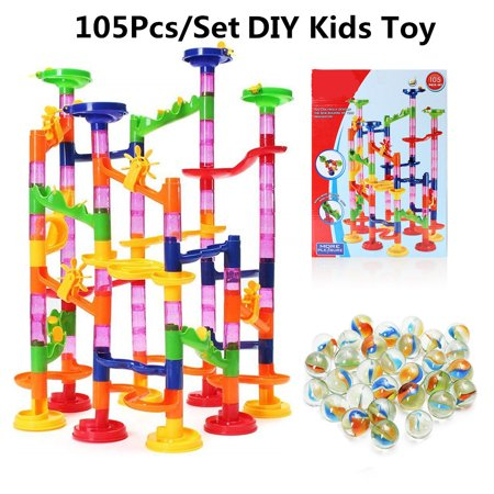 FUNTOK 105-Piece Kids Transparent Plastic Building Block Construction Round Beads Running Coaster Track for STEM, Learning, Education w/ 75 Structure Pieces, 30 Marble (Marble Toys)