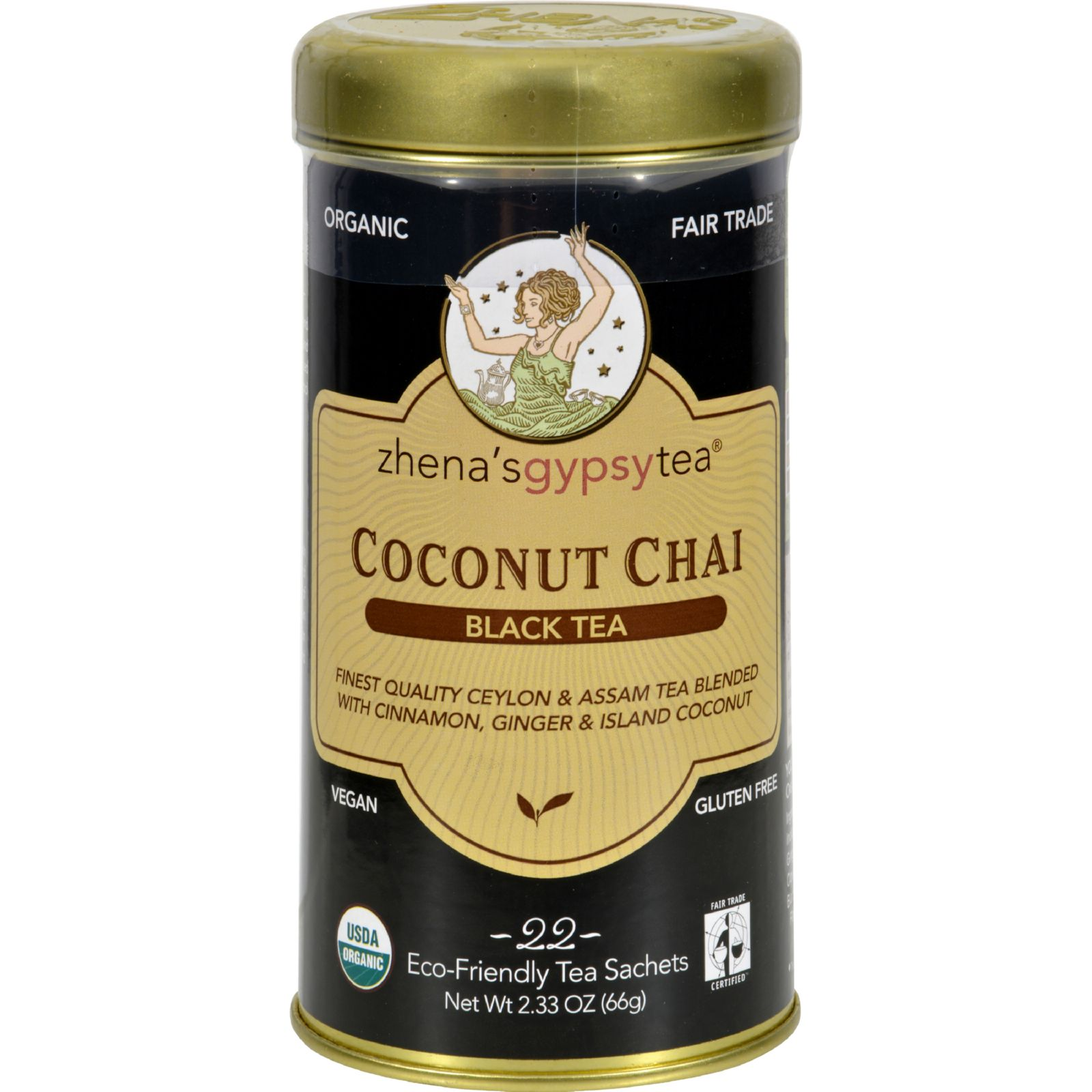 Zhena's Gypsy Tea Coconut Chai Black Tea - (Case of 6) - 22 Bags